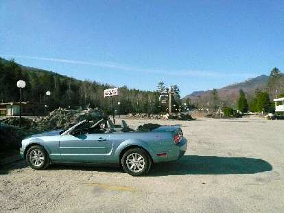 """The Mustang in Lincoln, NH.  Note the classic (but fake) side """"scoops"""" that look so much like the 1965 Mustang's."""