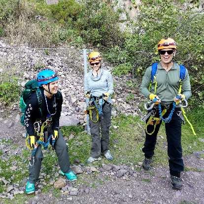 Mel, Teresa, and Matthew ready to do via ferrata.