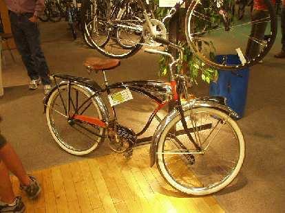 So was this vintage Schwinn cruiser, the type of bike that mountain bikes were born from.