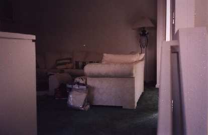 A sliding door (behind the sofa) gives access to the balcony from the living room.  Bedrooms are on the 3rd floor.
