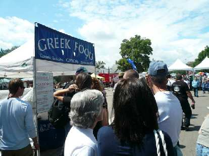 As many music stages as there were, there were more booths.  Here's one selling Greek Food.