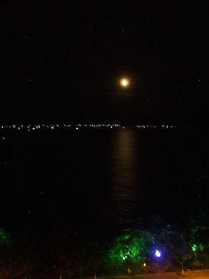Moon lighting the water.