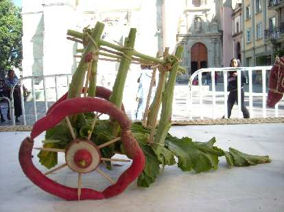 A cart made from radishes.