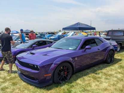 A plum crazy purple Dodge Challenger Hellcat.