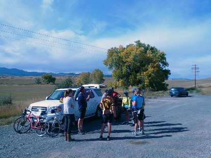 "[Mile 75, 2:47 p.m.] Stopping for cookies and refreshments at an impromptu ""rest stop"" in Berthoud."
