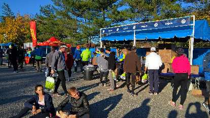 Bagels being served in the Athlete's Village at Fort Wadsworth for the 2016 New York City Marathon.