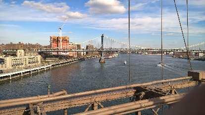 The Manhattan Bridge as viewed from the Brooklyn Bridge.