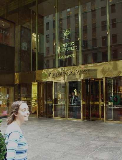 """Carolyn at the Trump Tower, where """"The Apprentice"""" was filmed."""