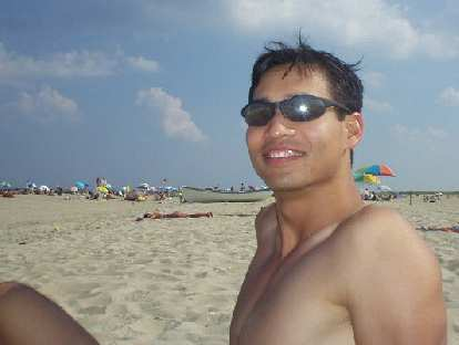 Felix Wong at the nudist beach.  Neither he nor Carolyn were one of the completely nude ones.