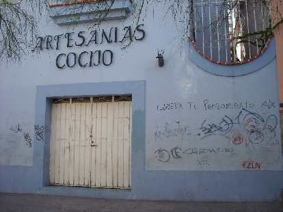 "Unfortunately Oaxaca has its share of graffiti.  At least this is decipherable: ""Libera tu pensamiento"" (free your thinking)."