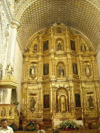 The walls inside La Iglesia de Santo Domingo were very ornate.