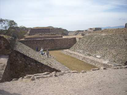 The ball court at the ruins of Monte Alban.