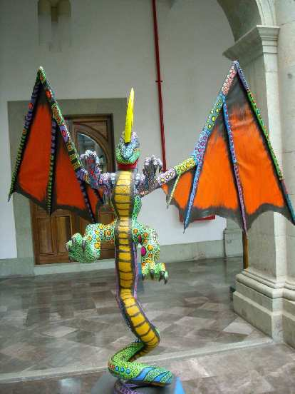 A colorful bat at the museum in the Z