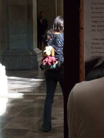 A doggie backpack worn by a patron of the museum in the Z