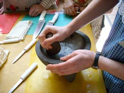 We used stone mortar and pestles to make excellent salsa.