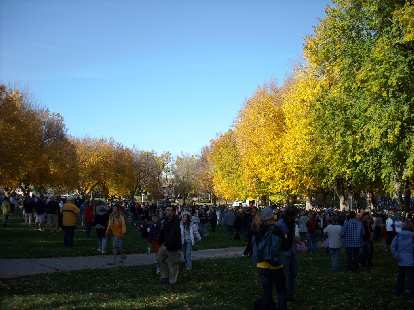 Crowd dispersing after the Obama speech.  The golden leaves all around reminded me of how CSU is one of my favorite college campuses (second only to Stanford's of course!)