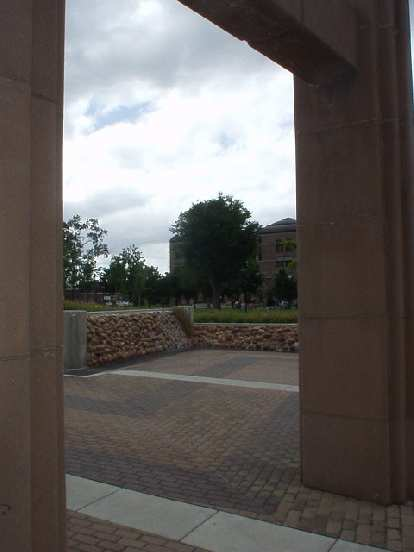 View of downtown through some columns.