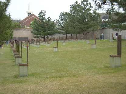 The Field of Empty Chairs, one chair for each of the victims of the bombing of the Alfred P. Murrah federal building.