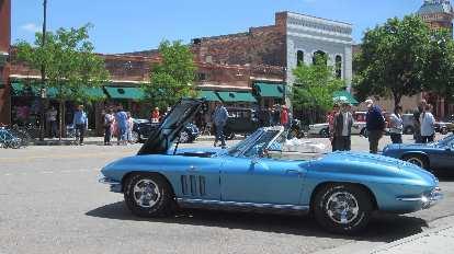 blue second-generation Corvette convertible