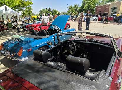 More MGBs were at the show than usual, including a blue chrome-bumpered and red rubber-bumpered ones.
