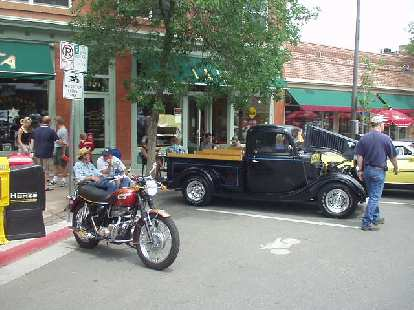 Just 2 blocks away from the Taste of Fort Collins was the Old Town Car Show going on simultaneously, with about 200 cars!  And this Triumph Tiger 650--just in front of La Luz, my favorite restaurant for fish tacos.