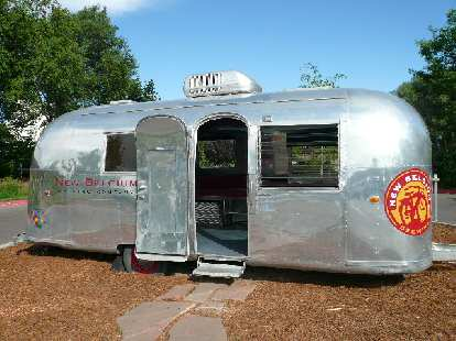 An Airstream trailer outside of the New Belgium Brewing Company.