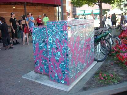 I like how Fort Collins have painted all the utility boxes with art to discourage vandalism.
