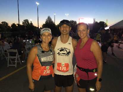 Mel, Felix, and Connie at the start of the 2019 Omaha Marathon.