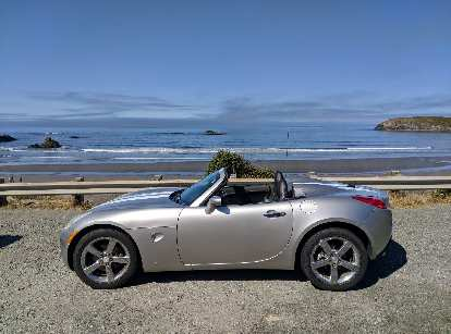 Silver 2008 Pontiac Solstice GXP at Myers Creek Beach Viewpoint along the Oregon Coast Highway.