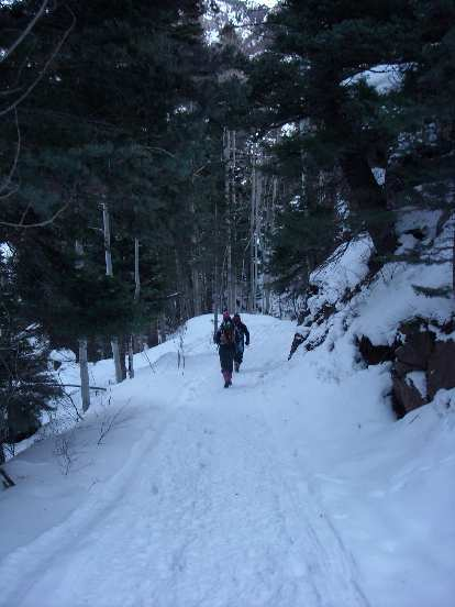 Hiking through Ouray Ice Park.