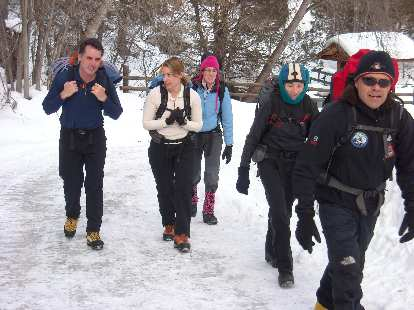 Jeff, Heidi, Michele, Tori and Danny walking through the Ouray Ice Park.