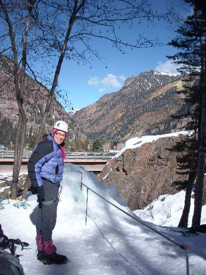 """""""My butt is numb,"""" stated Michele after belaying me while sitting on the snow for too long."""