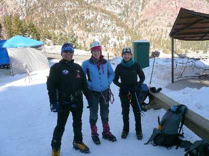 Danny, Michele, and Tori about to commence another fun day of ice climbing.