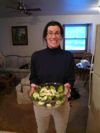 Michele with salad!