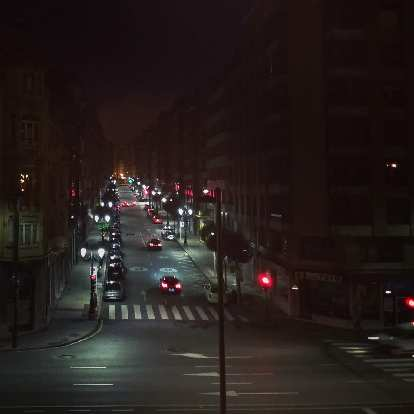 Nighttime shot of early morning traffic as I walked away from Oviedo to continue my journey on the Camino de Santiago.