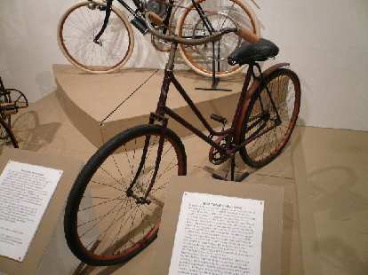 The 1898 Nichols Ladies Safety bicycle allowed women to easily mount while wearing ankle-length dresses.