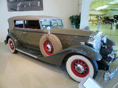 A 1933 Packard Tenth Series Convertible Sedan.  Despite the Great Depression, Packard continued to produce ever more luxurious and well-crafted cars.