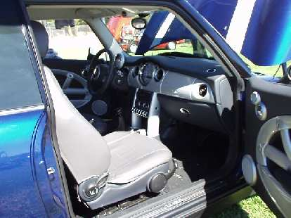 The interior of a new Mini (with accessories from Moss Motors), which (being made and sold by BMW) is not strictly a British car, but at least the original was!