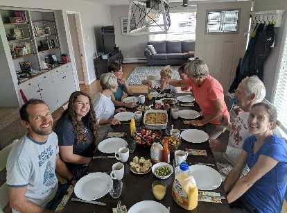 Alex, Maggie, Joan, Shelly, Soren, Anne, Bill, and Jill at breakfast in Seaside.