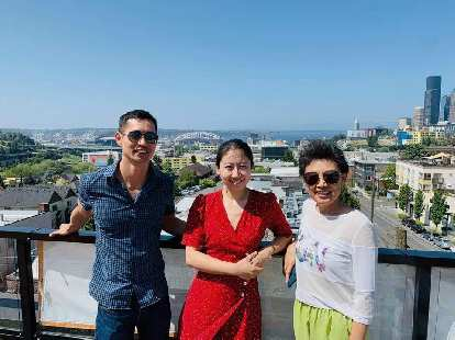 Felix, Wen, and Julie on the rooftop of Daniel and Wen's new apartment. I loved the view of Century Link Field, downtown Seattle, and the bay.