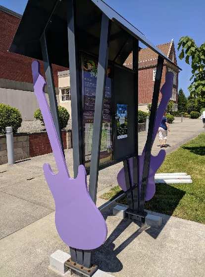 Purple guitars at Jimi Hendrix Park in Seattle.