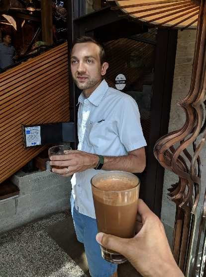 Daniel at the very first Starbucks Reserve Roastery. I had a Nitro Molé Mocha.