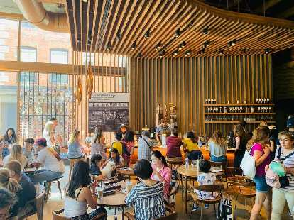 Inside the Starbucks Reserve Roastery at 1124 Pike Street in Seattle.