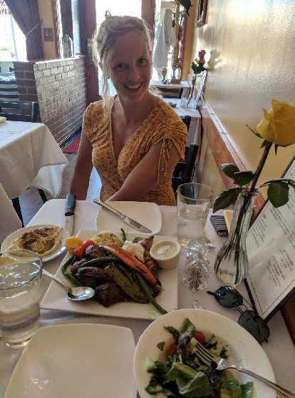 Maegan at Gorgeous George's Mediterranean Kitchen in Seattle.