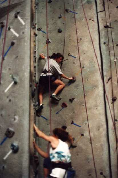 Here's Adrienne speeding up the wall!