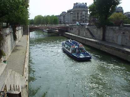 The view of the Seine near St. Michel and the Notre Dame Cathedral.
