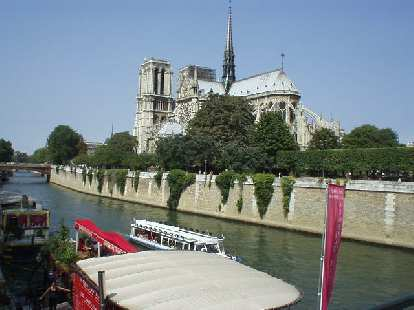 View of the Notre-Dame from the pedestrian bridge just east of it.  It took 2 centuries to build the Notre Dame, starting in 1163..
