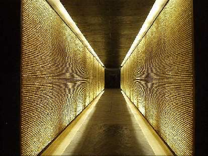 There are 200,000 lighted crystals inside the memorial representing the 200,000 French people who died in the camps.  The feeling of claustrophobia here is intentional and symbolic.