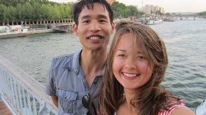 Felix Wong and Katia in front of the Seine River.