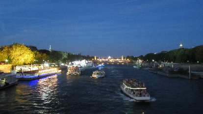 Boats on the Seine river.